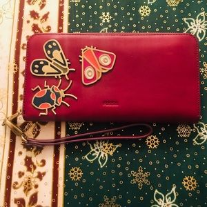 Real Leather Fossil Critter Wine Wallet